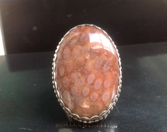 Red Fossilised, Agatized Coral Sterling silver Ring / Size 6.5 - 6.75 / OOAK / Made in Australia