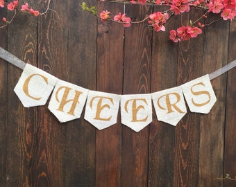 CHEERS BURLAP BANNER Birthday Banner Birthday Garland Happy Birthday Banner Wedding Decoration Celebration Banner Party Burlap Banner