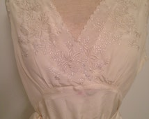 Vintage White Silk Hand Embroidered Nightgown
