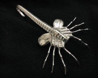 Alien Facehugger 3D Printed Polished Sterling Silver Pendant