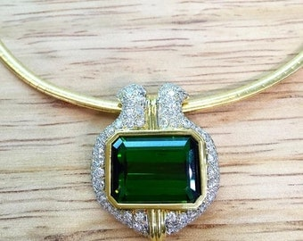Green Tourmaline And Diamond Necklace/Brooch
