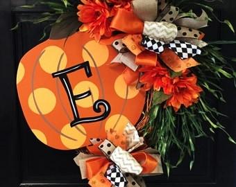 Orange Pumpkin Initial Fall Wreath, Door Decoration,  Fall Wreath
