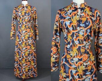 70's Maxi Dress......70's Poly Thai Cat Print Poly Maxi Dress