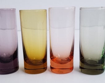 Set of Multi-Colored Tube-Like Shot Glasses with Box - Made in Japan