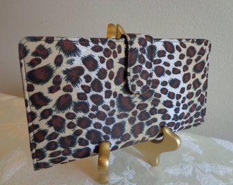 Faux Leopard Nylon Wallet with Black Interior, ID Spaces, Credit Card Slots, Zipper Compartment and Bill Folds, Exotic Leopard Wallet