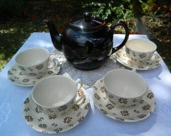 RESERVED Vintage 'Nostalgia' Johnson Brothers Tea Set - Floral Cream and Brown
