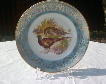 Liverpool Rd Pottery Ltd Stoke on Trent Display/Cabinet Plate Pheasants Blue with Gold Filigree Gilding