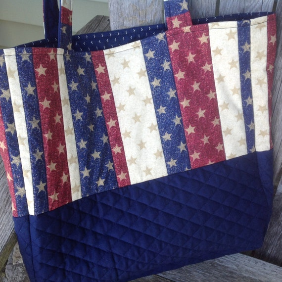 patriotic tote bag red white blue stars quilted cotton. Black Bedroom Furniture Sets. Home Design Ideas