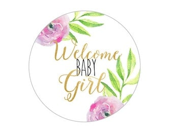 Welcome Baby Girl Printable, Cupcake Toppers, Labels, Tags, Baby Shower