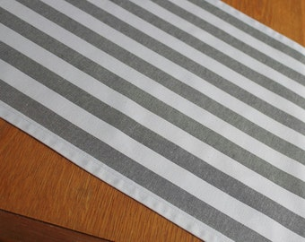 Grey  & White Striped table runner home decor kitchen and dining