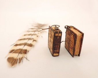 Miniature books earrings - Wooden pyrograph decorated earrings - Handcarved earrings