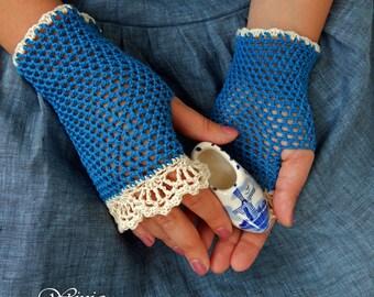 Boho fingerless gloves, cotton fingerles gloves, crochet summer mittens, cotton mittens, lace cotton gloves, knit boho, blue gloves, boho
