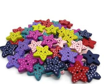 star buttons, polka dot buttons, polka dot stars, sewing supplies, sewing buttons, spotty buttons, cardmaking supplies, uk buttons,