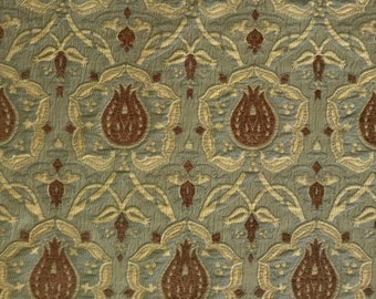 Teal Blue/ Chocolate Brown Damask - Upholstery Fabric by the Yard