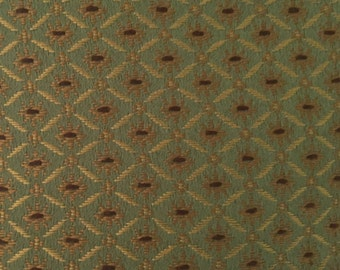 Green - Gold - Diamond - Upholstery Fabric by the Yard