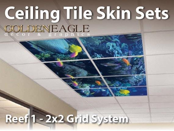 Ceiling Tile Skin Kit 2x2 Grid Glue Up Decorative Panel Cover