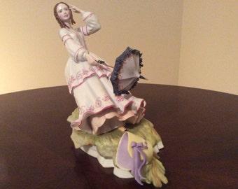 Beautiful R. Ruyckevelt Victorian Lady 'Eleanor' in the Wind Bone China Figurine.