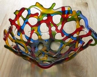 Fused Glass Bowl.  Multicoloured Transparent Fused Glass Bowl.  Glass Bowl