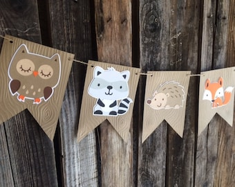 Woodland Party Banner, Baby Shower, Birthday Party, Fox Party, First Birthday, Photo Prop