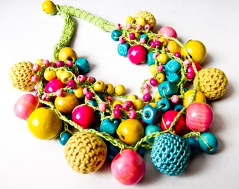 Crochet necklace with  wooden and crochet beads-SOLD
