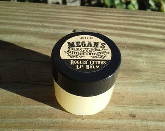 Rogue's Oil Lip Balm citrus flavor/all natural/essential oil/coconut oil/anti-bacterial/anti-viral/shea butter, Thieves Oil, lip conditioner