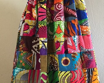 Magnificent Reversible Patchwork One Shoulder Maxi Dress Rock Two Looks in 1 African Wax Print 100% Cotton