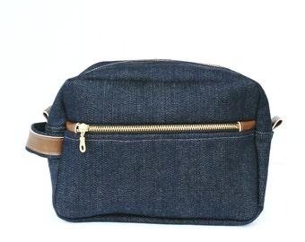 Mens Denim Toiletry Case, Denim Dopp Kit, Mens Travel Toiletry Bag, Denim Shaving Kit Bag, Groomsmen Gift, Denim Wash Bag, Grooming Kit Bag