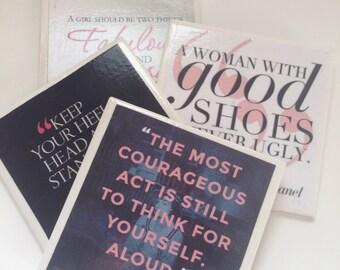 Coco Chanel Quote Coaster Set