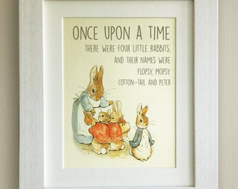 """BEATRIX POTTER Peter Rabbit Quote Print, New Baby/Birth, Nursery Picture, *UNFRAMED* Lovely Birth/Christening Gift, 10""""x8"""""""