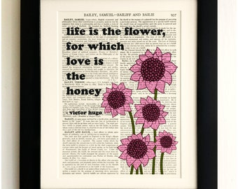 FRAMED ART PRINT on old antique book page - Life is the flower Quote, Vintage Wall Art Print Encyclopaedia Dictionary