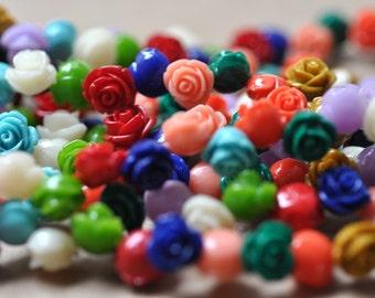 "Carved Multi color Resin Rose  Beads 12MM strand 15"" Strand (40 roses)"