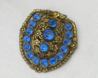 Dress Clip - Blue Rhinestones - Vintage