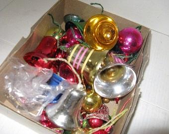 Colorful vintage 1950's Mid Century Vintage Mercury Glass Christmas Bulbs Ornaments, Package Ornaments,Bells, Balls, Grab-bag