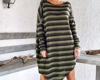 Winter Warm Wool Knitted Asymmetric Blouse Tunic / Winter Warm Tunic / Asymmetric Blouse / Oversize Loose Blouse / #35150