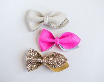 Leather Bow Tulip Set (neon pink/gold/cream)
