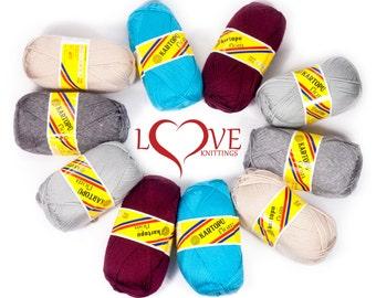 100% acrylic yarn, Knitting crochet yarn, Kartopu Flora 100g 230m