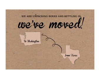 We've Moved Postcard - Digital Download Postcard - We Moved digital - Cardboard Kraft Paper - 5x7 Postcard Download