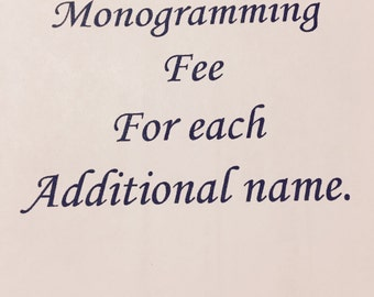 Monogramming first name free with blanket purchase.