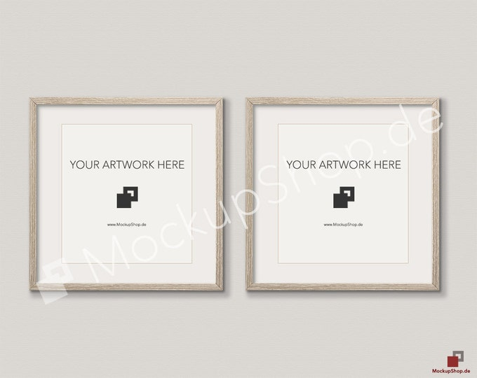 Set of 2 SQUARE MOCKUP FRAME on beige wall, Frame Mockup, Amazing brown photo frame mockup, Digital Download Square Frame Mockup