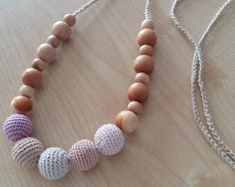 Breastfeeding nursing Nursing necklace Teething necklace Baby nursing toy Organic cotton Juniper Crochet necklace.Necklace for mom.