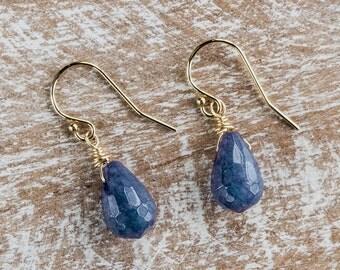 Sapphire Earrings/Raw Sapphire drop earrings/Sapphire Teardrop Earrings/September birthstone