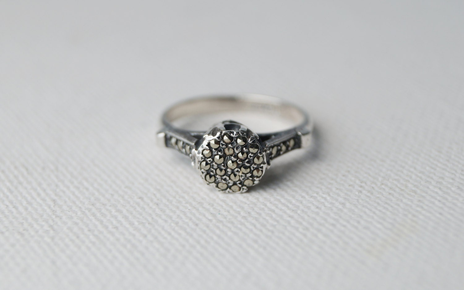 vintage sterling silver marcasite ring chunky silver ring