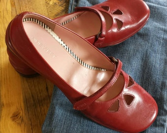Brazilian leather red Mary Jane flats romantic feminine red shoes boho chic
