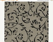 15% OFF/LOW SHIPPING Jardin de Provence, taupe with Black Scroll Vine from Windham Fabrics.  Floral French Style with Linen Look
