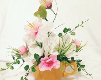 Tea Cup Gardenia Flower Arrangment, Centerpiece - Spring in a Cup