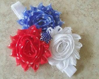 Patriotic Red White & Blue Headband - 4th of July Headband - Labor Day Bow - Patriotic Bow - Toddler Headband - Newborn Headband - Red Bow