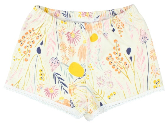Wild Flower Baby Shorts Toddler Shorts Girl Shorts Cluny Lace Trim Floral Shorts Girl Baby Pants Floral Toddler Short Floral Baby Gift Cream
