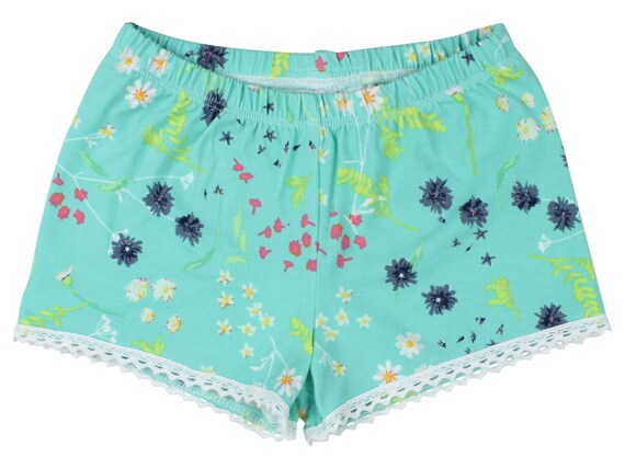 Aqua Blue Floral Baby Shorts Girl Shorts Toddler Shorts Cluny Lace Shorts Blue Flower Toddler Shorts Floral Shorts Floral Baby Gift Blue & P