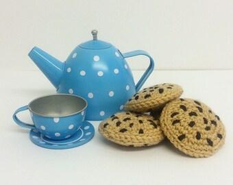 Play Food Crochet Cookies set of 4, Gift, Amigurumi