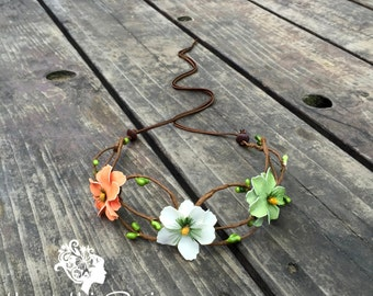 Floral boho multi color earthy festival crown  // Flower headband halo crown for a hippie chic party, festival, or wedding hair accessory